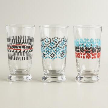 Geometric Glass Tumblers, Set of 3